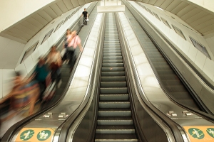 Infamously fast escalators of Metro line 2 at Keleti pályaudvar station